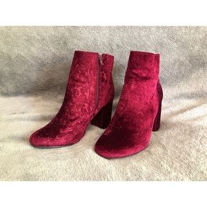 JustFab Burgundy Embroidered Booties